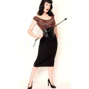 Bettie Paige pinup cherry corset black midi dress